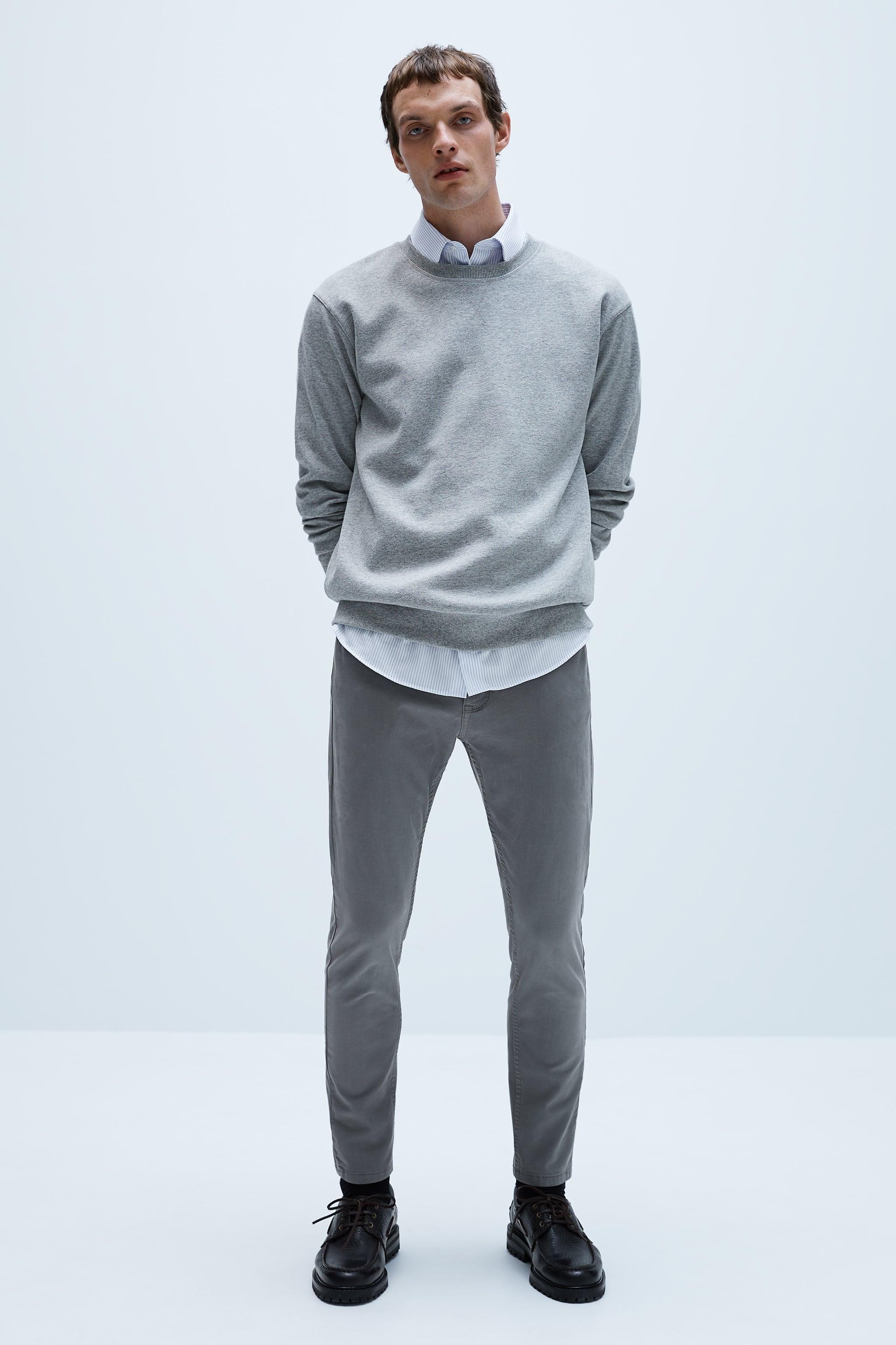 자라 Zara SOLID COLOR BASIC PANTS,Mid-gray
