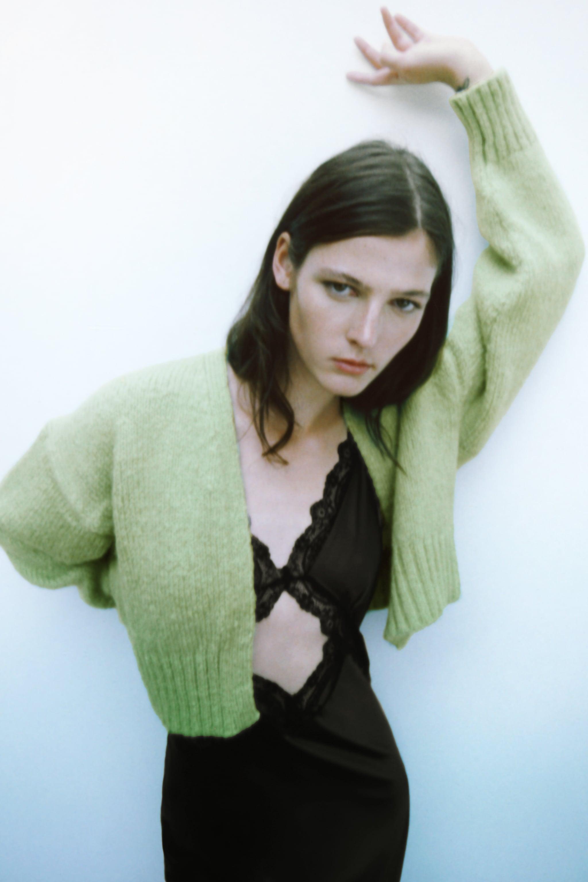 자라 우먼 니트 자켓 Zara KNIT CROPPED JACKET,Green