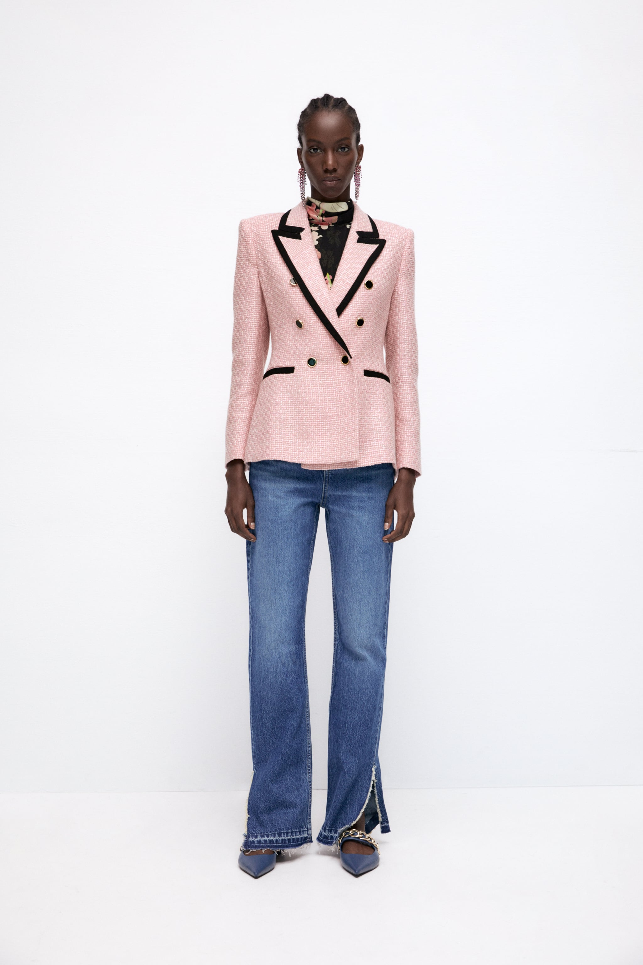 Zara STRUCTURED BLAZER WITH CONTRASTING PIPING