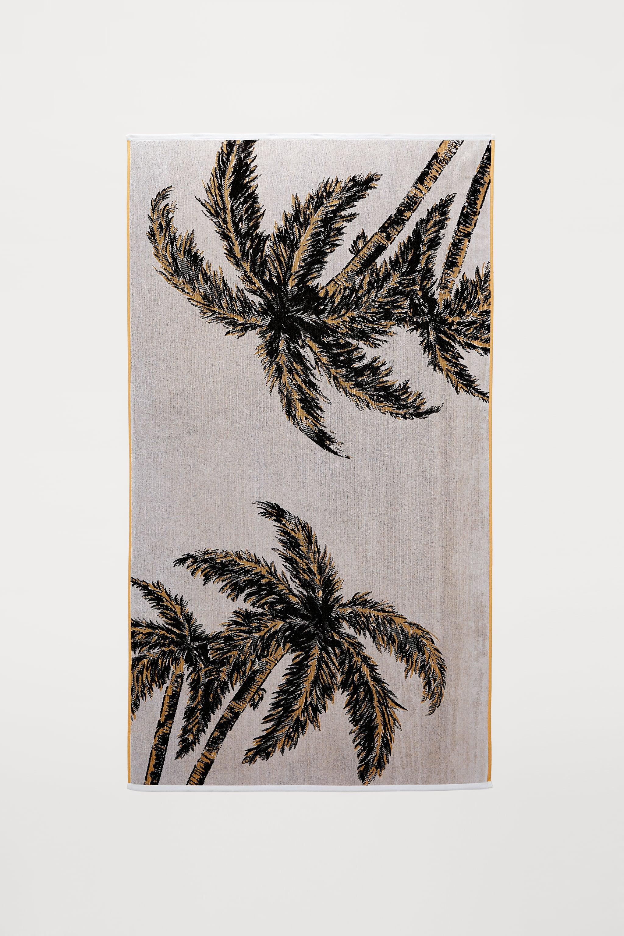 Zara PALM TREE JACQUARD TOWEL