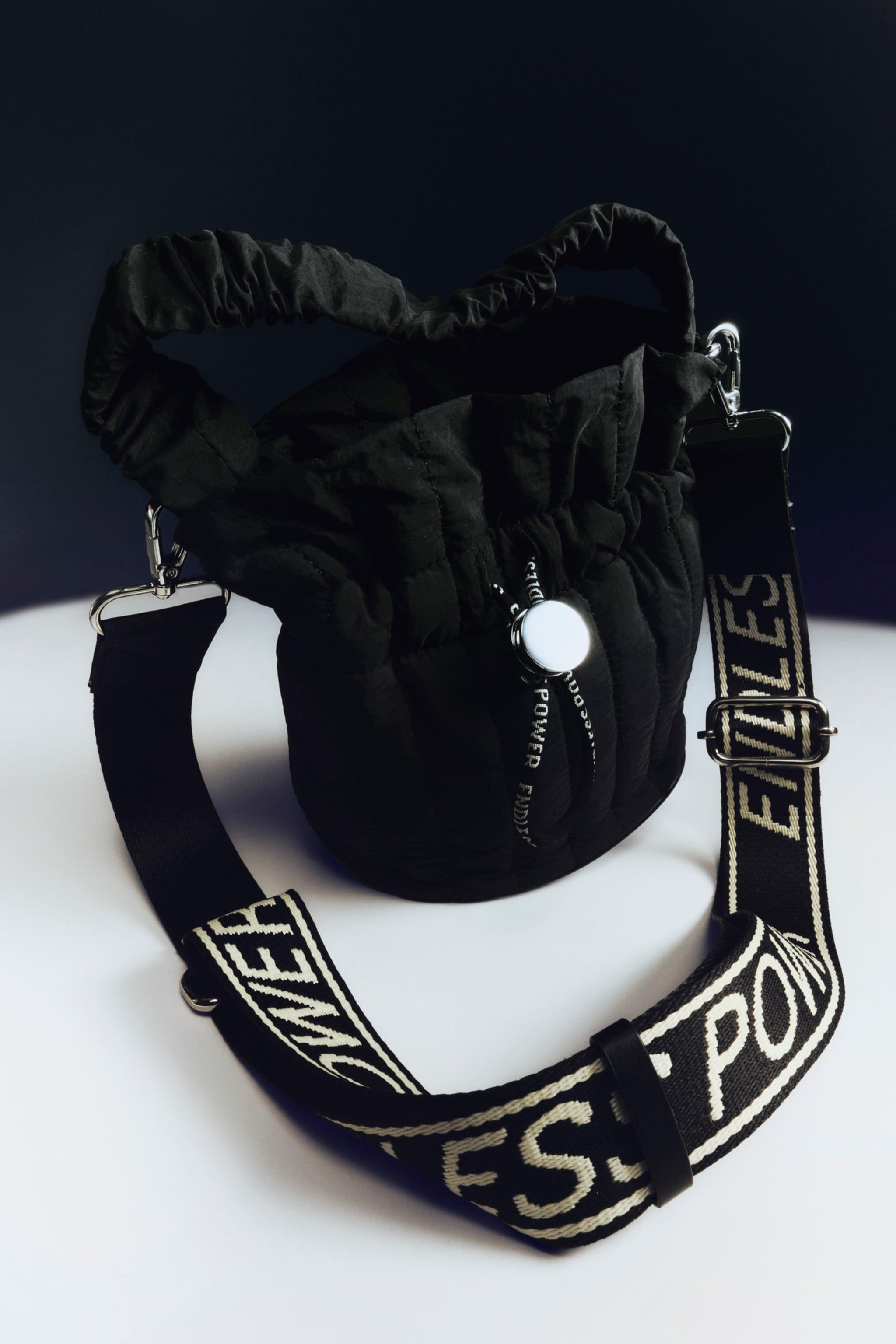 Zara TEXT DETAIL NYLON BUCKET BAG