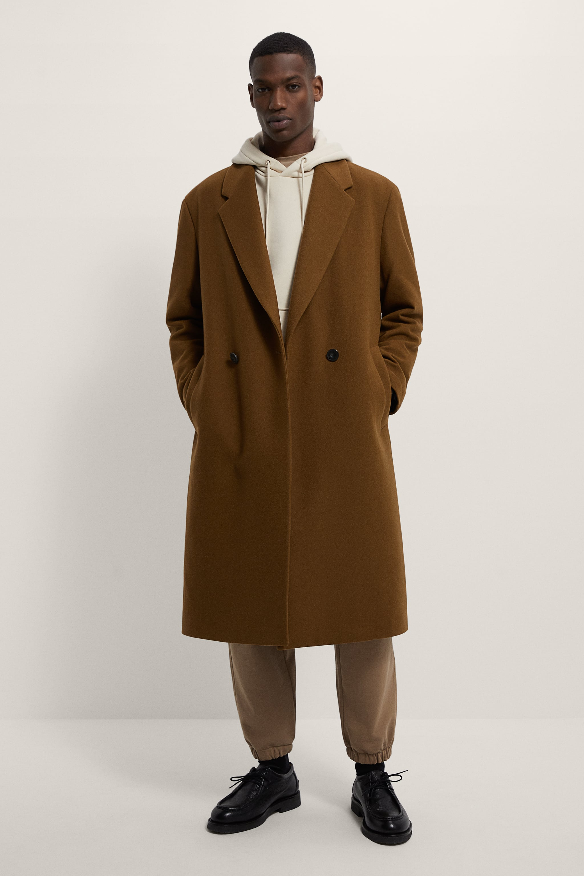 Zara DOUBLE-BREASTED RELAXED FIT COAT