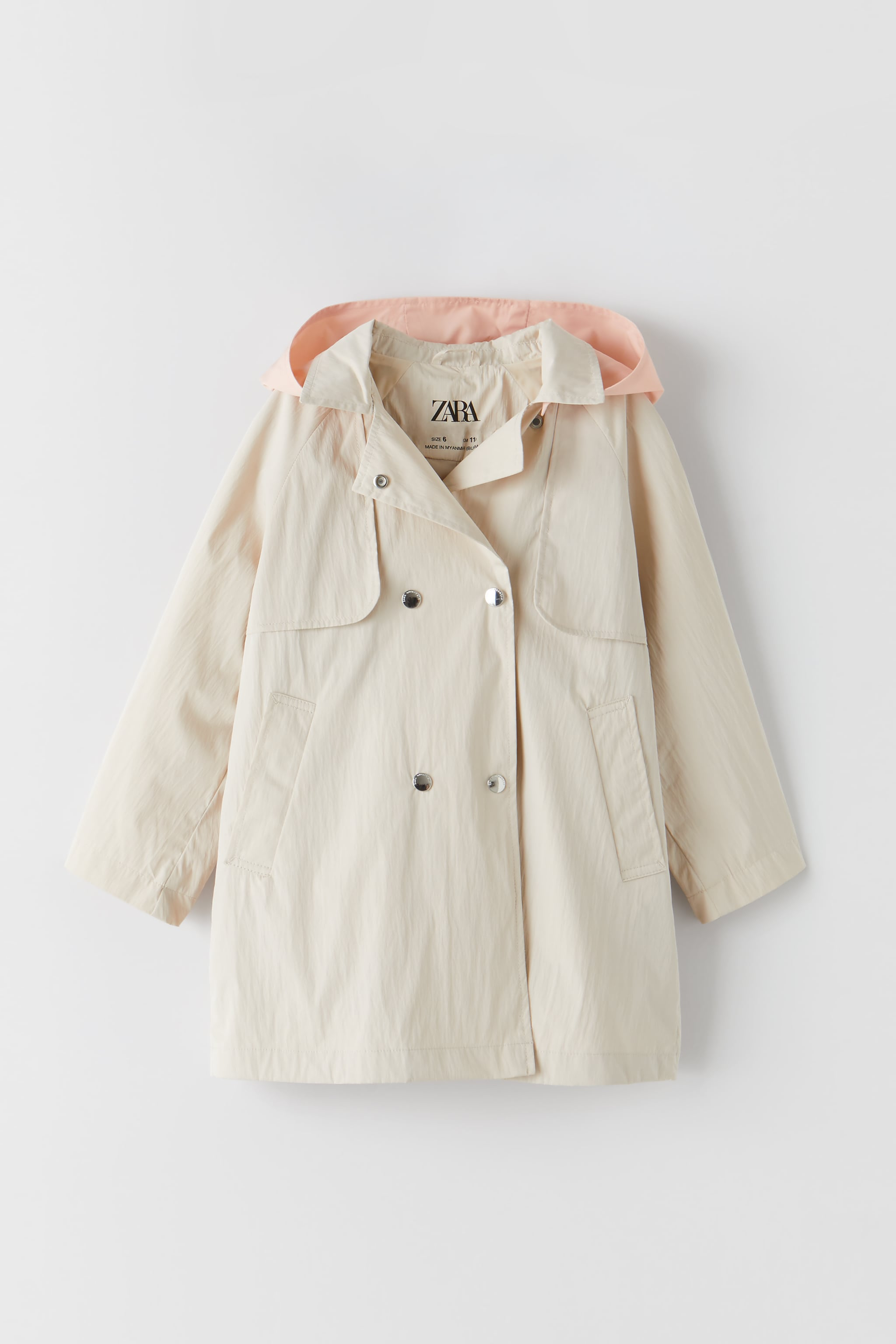 Zara CONTRASTING DOUBLE BUTTON TRENCH COAT