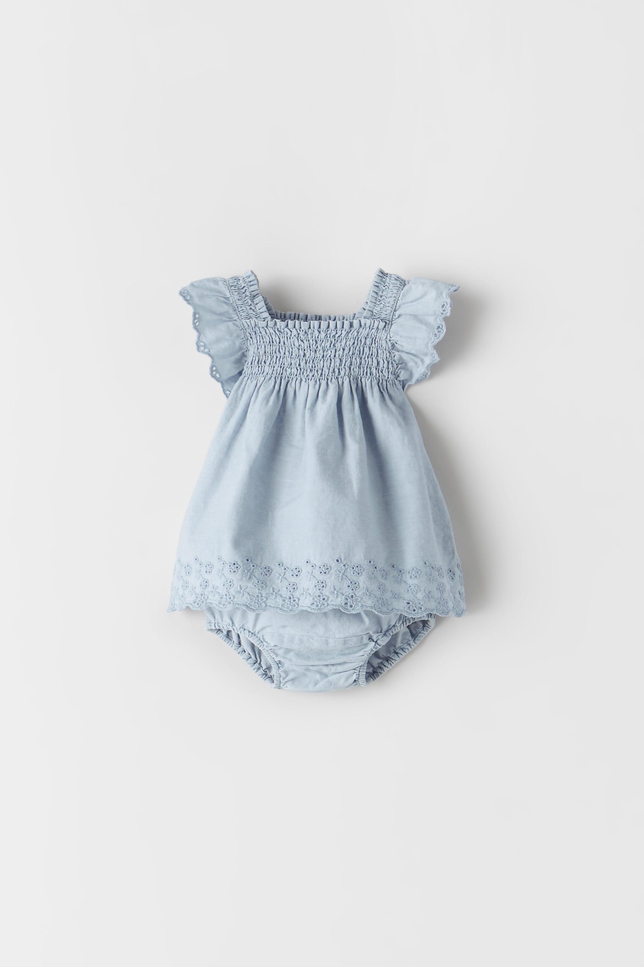 Zara EMBROIDERED DENIM DRESS
