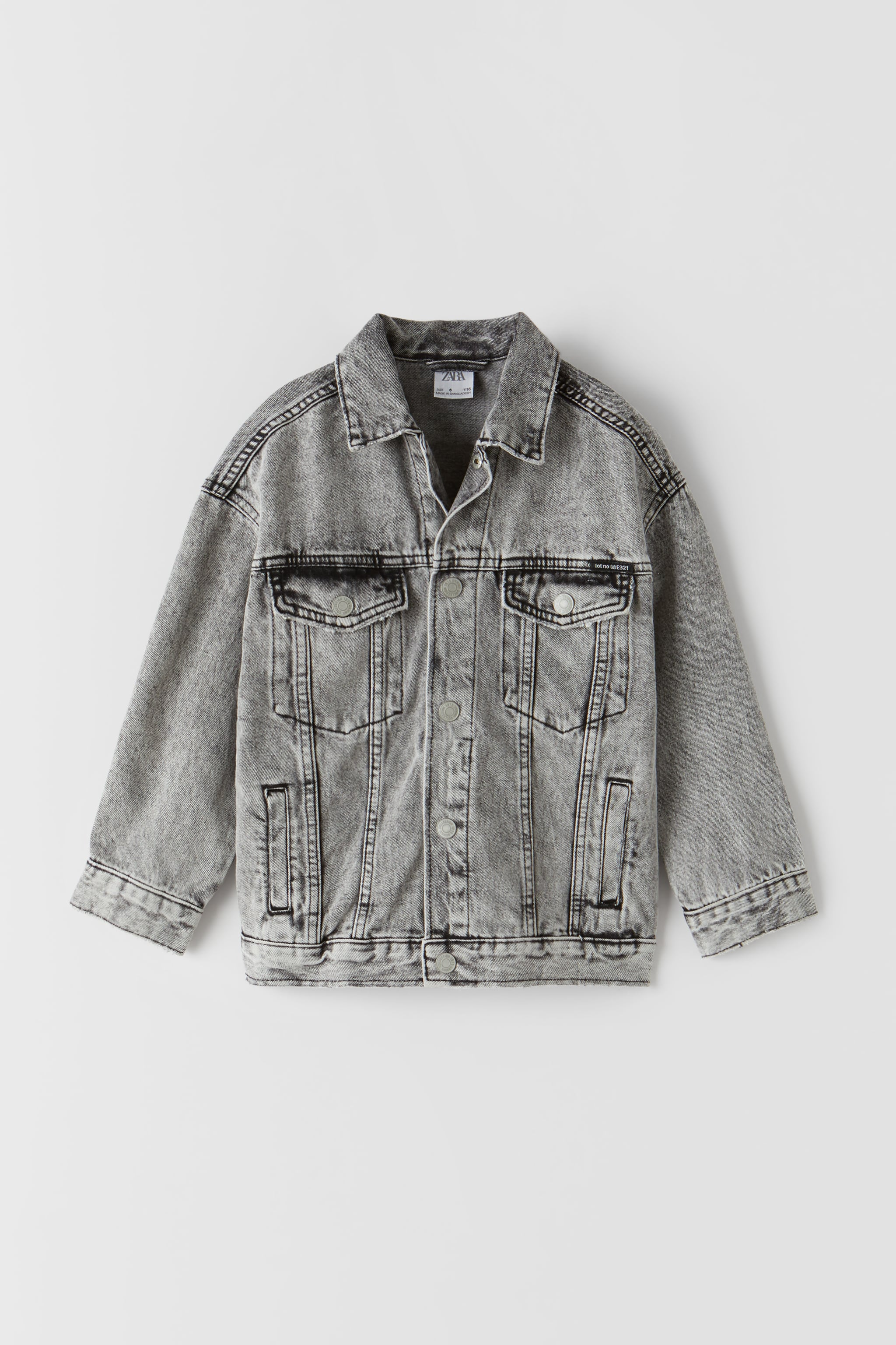 Zara BASIC ACID BLACK DENIM JACKET