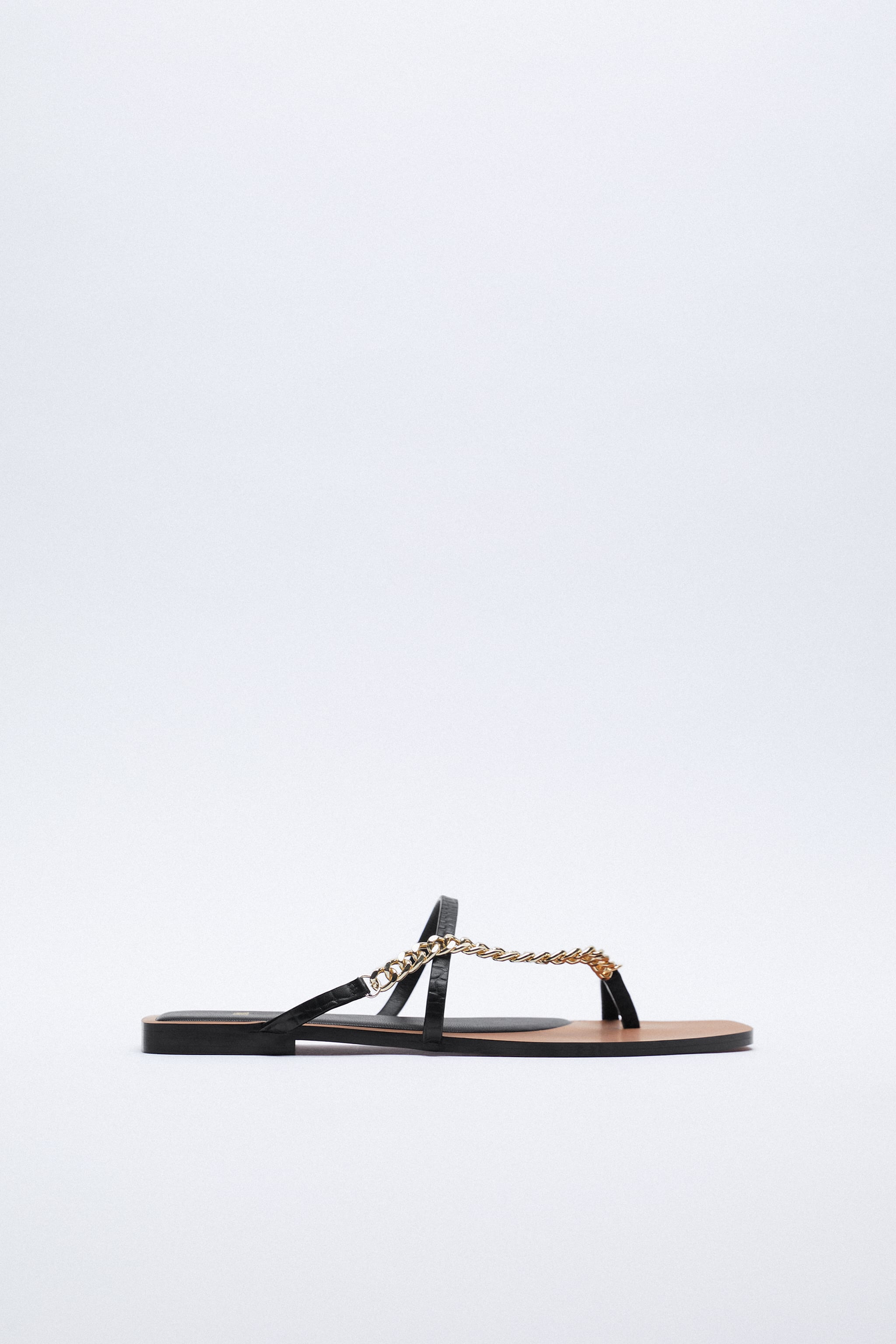 Zara FLAT LEATHER SANDALS WITH CHAIN