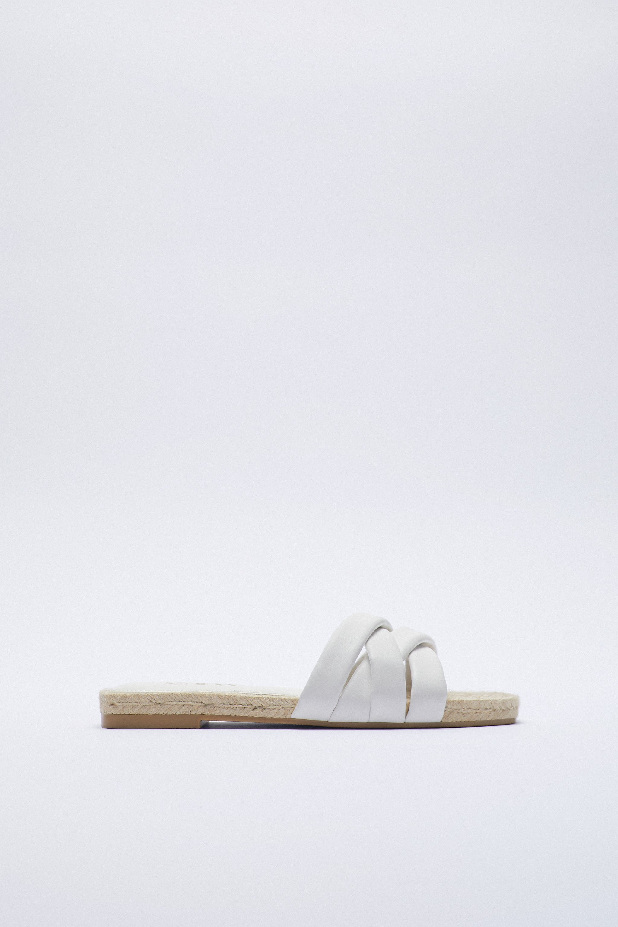 Zara JUTE FLAT QUILTED LEATHER SANDALS