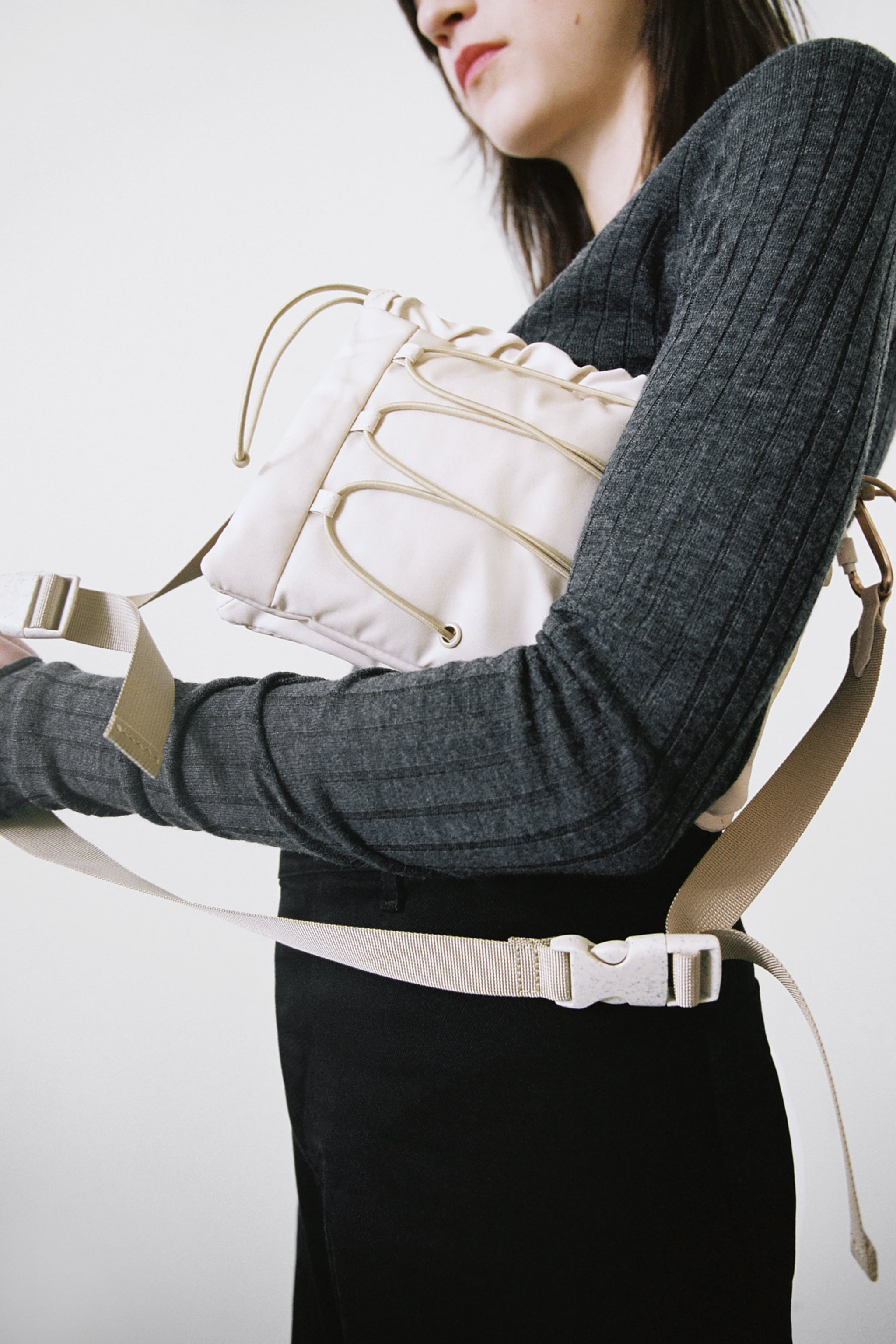 Zara CLASP STRAP FABRIC CROSSBODY BAG