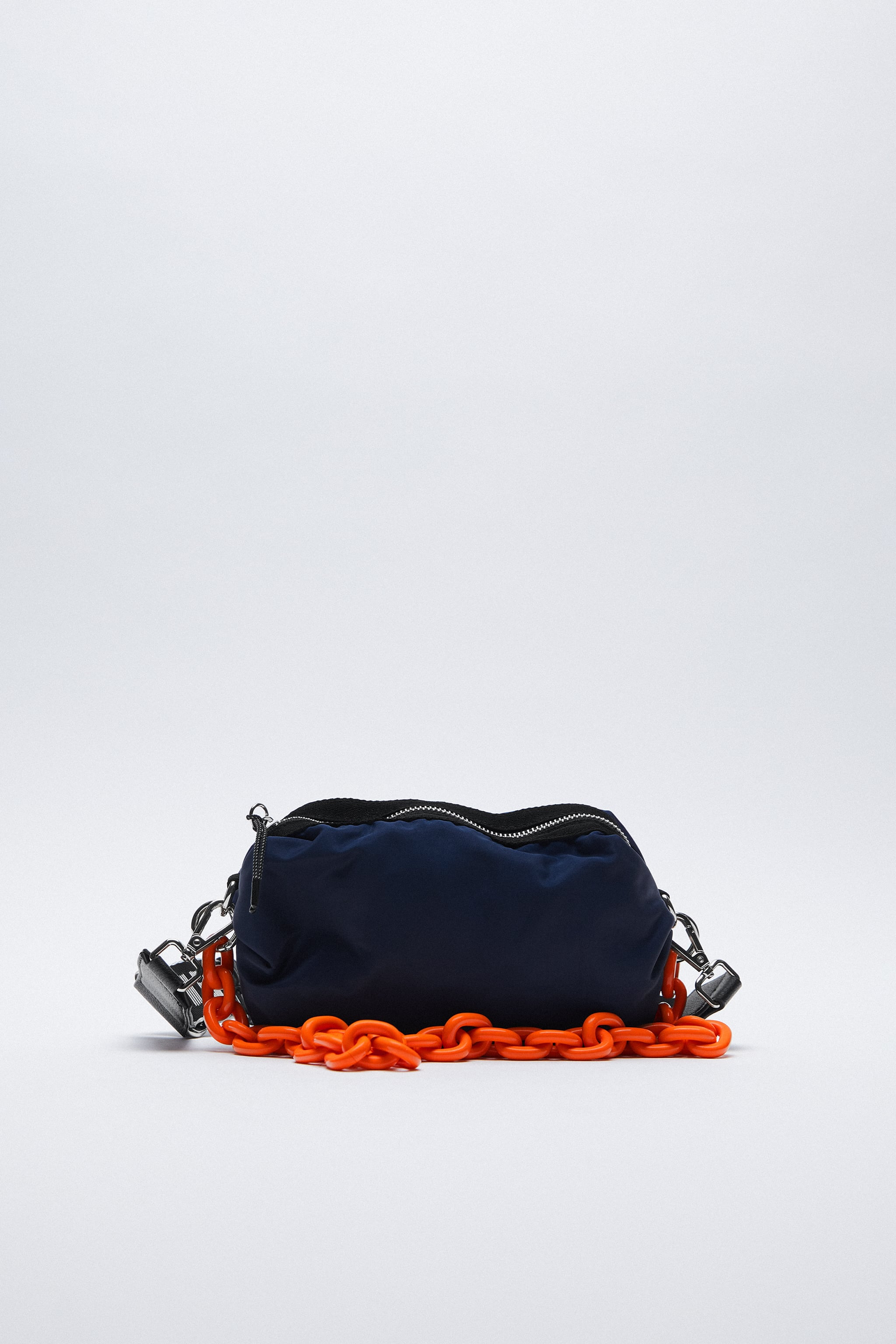 Zara NYLON CROSSBODY BAG WITH CHAIN AND TEXT DETAIL