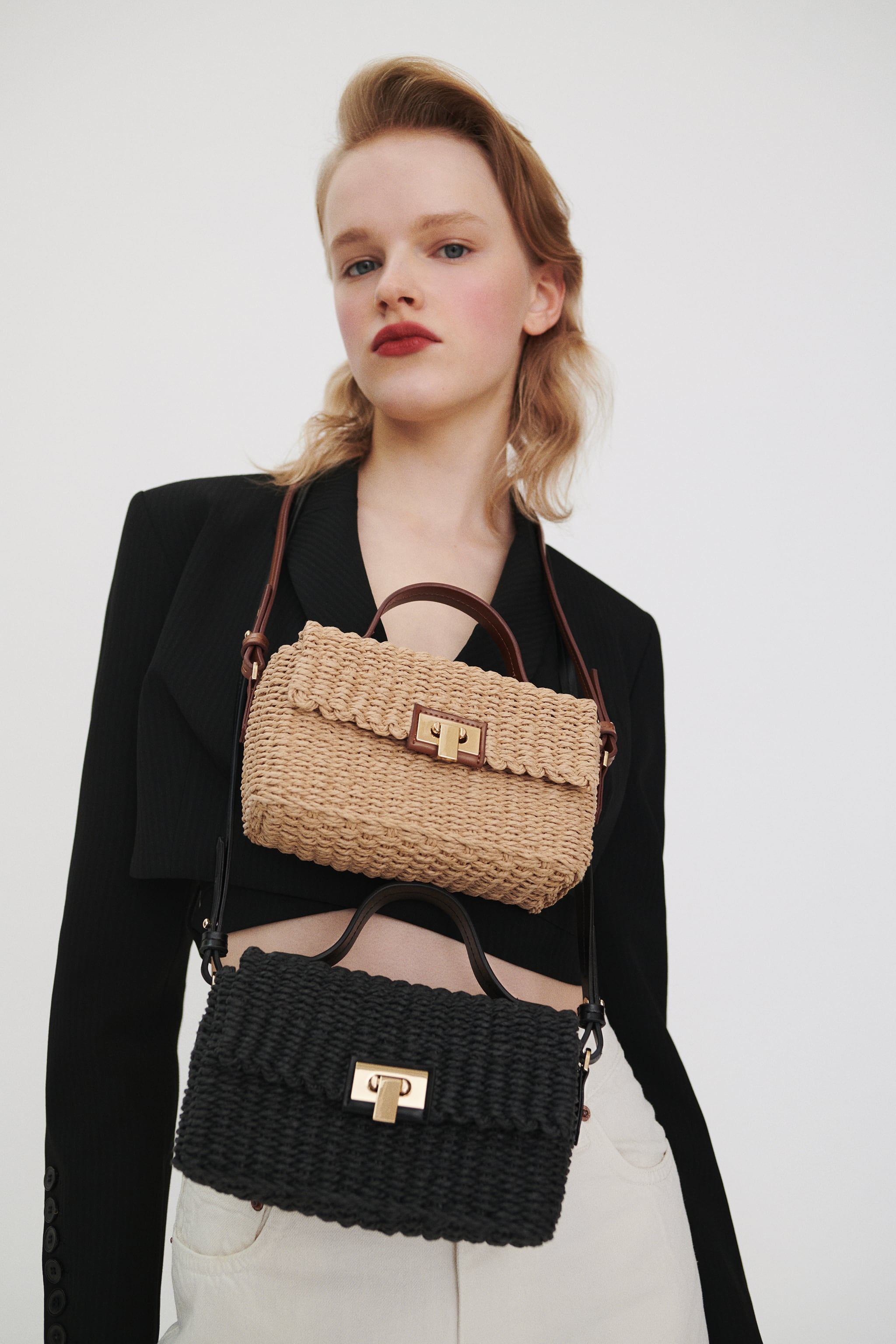 Zara WOVEN CROSSBODY BOX BAG