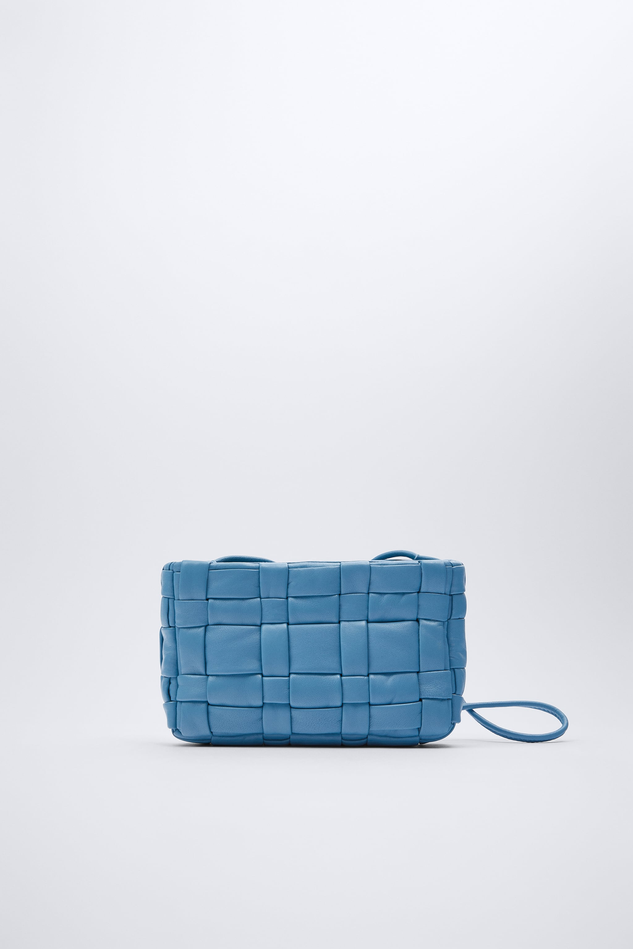 Zara WOVEN QUILTED LEATHER CROSSBODY BAG